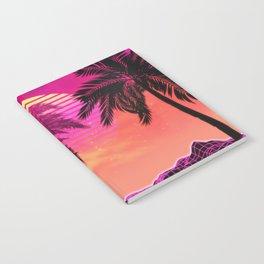Pink vaporwave landscape with rocks and palms Notebook