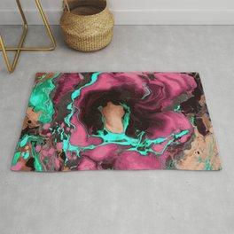 Purple cyan on black Marble texture Liquid paint art Rug