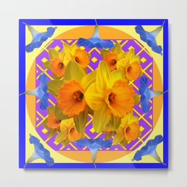 Golden Daffodils Blue Morning Glories Garden Pattern Metal Print