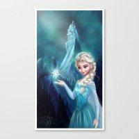 frozen elsa Canvas Prints featuring Elsa Frozen by This Is Niniel Illustrator