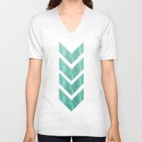 klimt V-neck T-shirts featuring Klimt in Sea Foam by littlehomesteadco