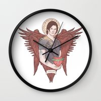 sam winchester Wall Clocks featuring Angel of Compassion (Sam Winchester) by KARADIN