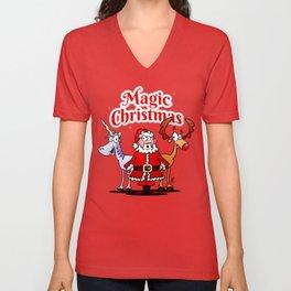 Magic Christmas with a unicorn Unisex V-Neck