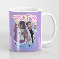 treat yo self Mugs featuring Treat Yo Self by enerjax