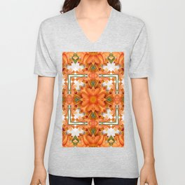Abstract kaleidoscope of a beautiful day lily Unisex V-Neck