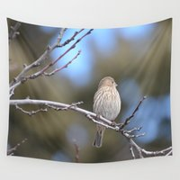 sparrow Wall Tapestries featuring House Sparrow  by A Wandering Soul