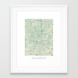San Antonio Map Blue Vintage Framed Art Print