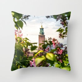 Stockholm City Hall in Summer Greens Throw Pillow