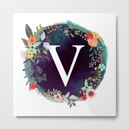 Personalized Monogram Initial Letter V Floral Wreath Artwork Metal Print