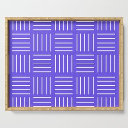 Abstract geometric pattern - blue and white. Serving Tray