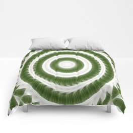Green White Kaleidoscope Art 8 Comforters