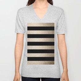 Simply Striped White Gold Sands on Midnight Black Unisex V-Neck