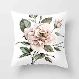 Faded Pink Rose Throw Pillow