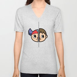 Old & New Animal Crossing Villager Comparison Unisex V-Neck