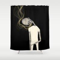 smoking Shower Curtains featuring Smoking man by auntikatar