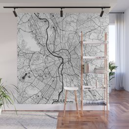 Toulouse Map Gray Wall Mural