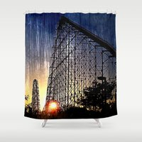 coasters Shower Curtains featuring Mamba Roller Coaster at Sunset Grunge by The Eclectic Mind