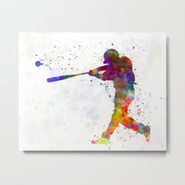 Baseball player hitting a ball Metal Print