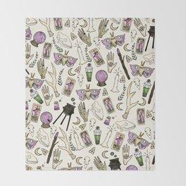 WITCH pattern • in bone Throw Blanket