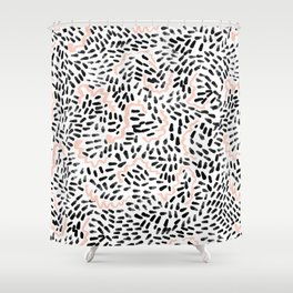 Helena - black white rose quartz abstract squiggle dot mark making painting brushstrokes minimal  Shower Curtain