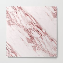 Ripples of Rose and Cream Marble Metal Print