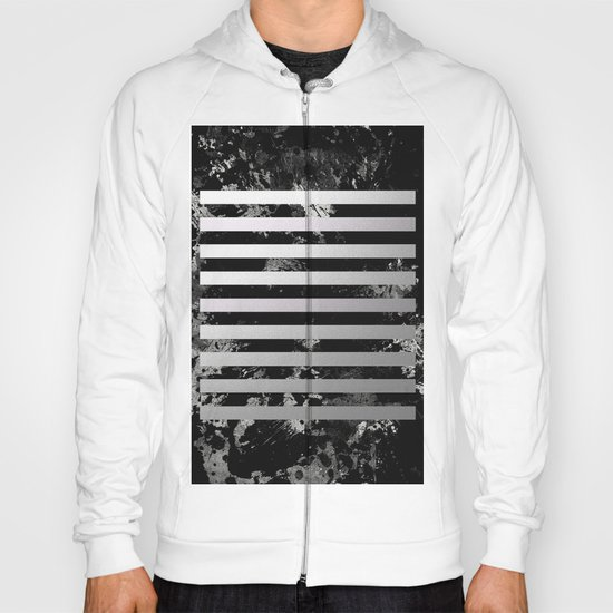 Industrial Action - Metallic, black and white, abstract, geometric, textured painting Hoody