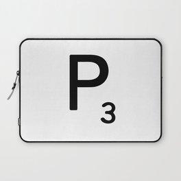 Letter P - Custom Scrabble Letter Tile Art - Scrabble P Initial Laptop Sleeve