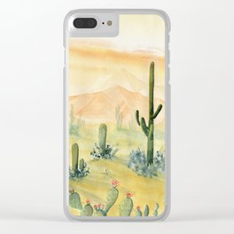 Desert Sunset Landscape Clear iPhone Case