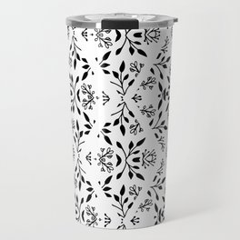 Abstract geometrical black white floral pattern Travel Mug