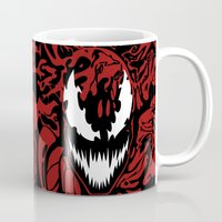 carnage Mugs featuring carnage by Rebecca McGoran