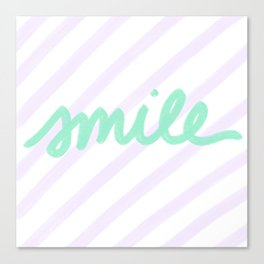 Green Smile on Purple Pastel Stripes Canvas Print