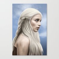 khaleesi Canvas Prints featuring Khaleesi (Blue Sky) by Jason Cumbers