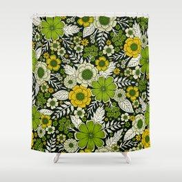 Modern Yellow & Green Floral Pattern Shower Curtain