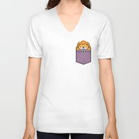 pocket V-neck T-shirts featuring Pocket Lion by Steven Toang
