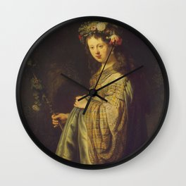 "Rembrandt Harmenszoon van Rijn, ""Saskia as Flora"", 1635 Wall Clock"