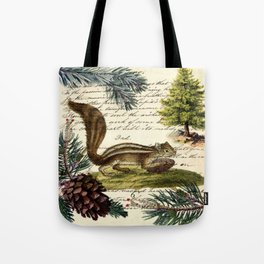 Rustic christmas winter evergreen pine tree woodland chipmunk Tote Bag