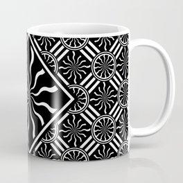 Wavy Black and White Diamond Pinwheels and Stripes 2 Digital Illustration Artwork Coffee Mug