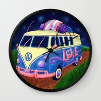 hippie Wall Clocks featuring Hippie Van by whiterabbitart