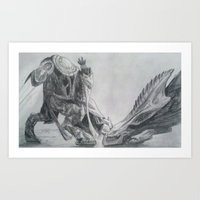 starcraft Art Prints featuring Zeratul Slays a Hydra by Luke Woolley