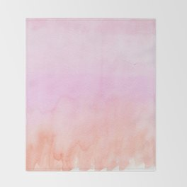 Abstract blush pink coral orange watercolor ombre Throw Blanket