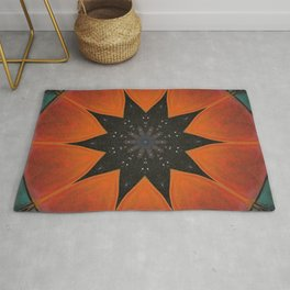 Eclipse // Vibrant Visionary Art Star Pattern Healing Energy Bohemian Orange Teal Magical Chakra Rug