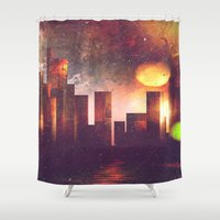 manhattan Shower Curtains featuring Good night Manhattan by HappyMelvin