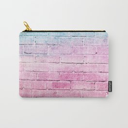 pastel blue and magenta pink distressed painted brick wall ambient decor rustic brick effect Carry-All Pouch