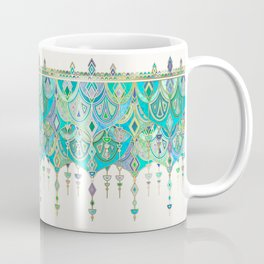 Art Deco Double Drop in Jade and Aquamarine on Cream Coffee Mug
