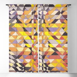 Triangle Pattern No.8 Black and Yellow Blackout Curtain