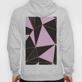Geometrical elegant black pink watercolor rose gold stripes Hoody