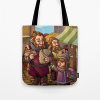 nori Tote Bags featuring Brothers Ri Market Day by Hattie Hedgehog