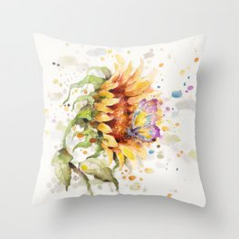 Hand In Hand (Butterfly & Sunflower) Throw Pillow