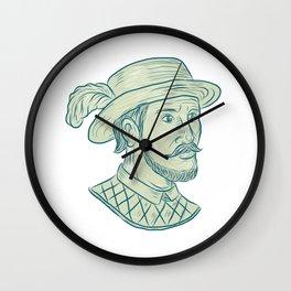 Juan Ponce de Leon Explorer Drawing Wall Clock