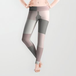 Dusty Rose, Rose and Grey Squares Leggings